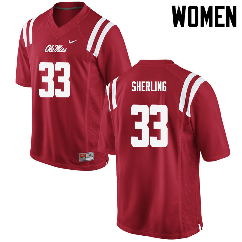 Women Ole Miss Rebels #33 John-Patrick Sherling College Football Jerseys-Red